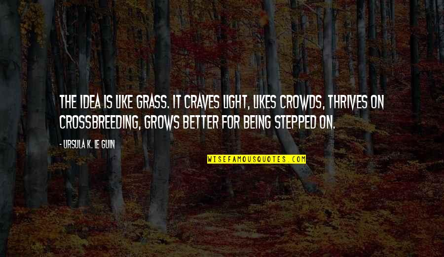 Not Being Stepped On Quotes By Ursula K. Le Guin: The idea is like grass. It craves light,