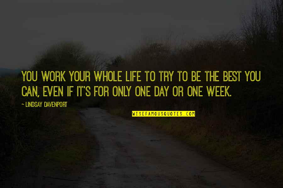 Not Being The Only One Trying Quotes By Lindsay Davenport: You work your whole life to try to