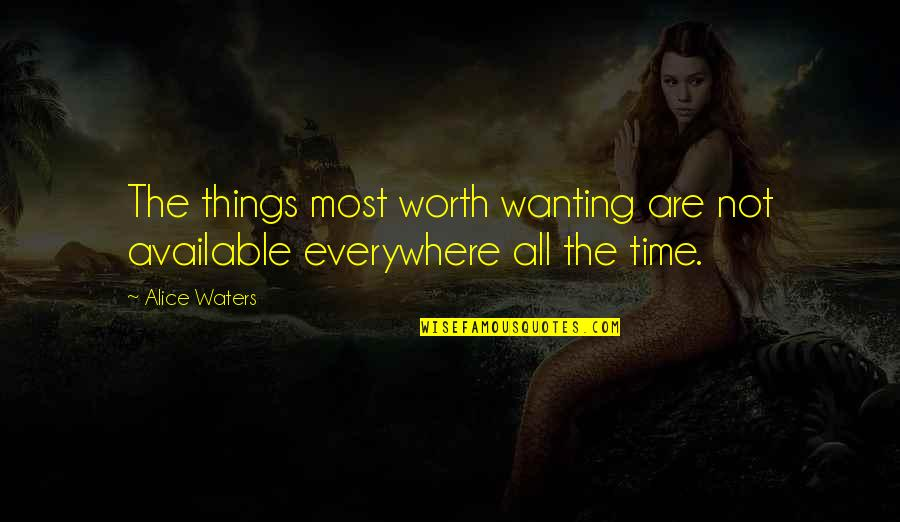 Not Caring And Being Happy Quotes By Alice Waters: The things most worth wanting are not available
