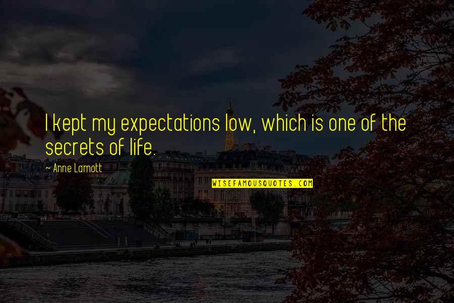 Not Caring And Being Happy Quotes By Anne Lamott: I kept my expectations low, which is one
