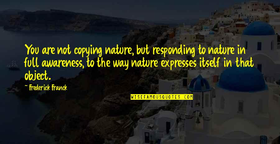Not Copying Quotes By Frederick Franck: You are not copying nature, but responding to
