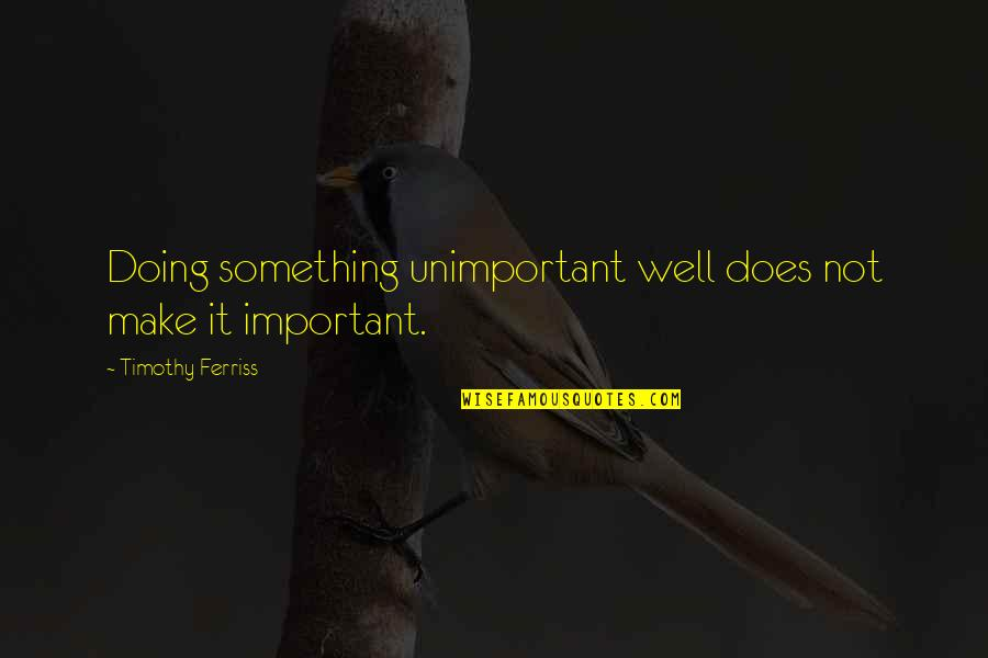 Not Doing Well Quotes By Timothy Ferriss: Doing something unimportant well does not make it