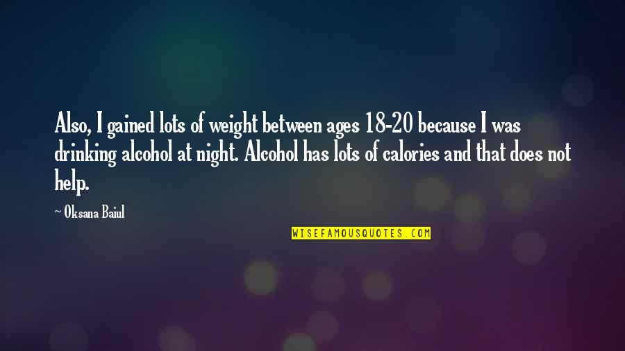Not Drinking Alcohol Quotes By Oksana Baiul: Also, I gained lots of weight between ages