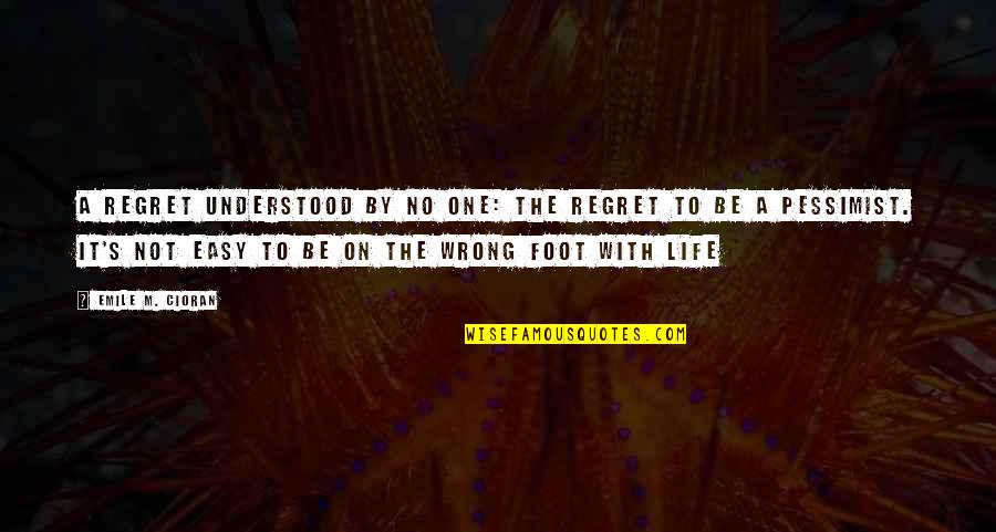 Not Easy Life Quotes By Emile M. Cioran: A regret understood by no one: the regret