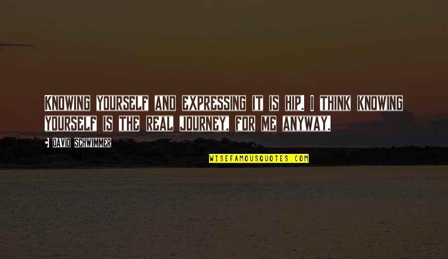 Not Expressing Yourself Quotes By David Schwimmer: Knowing yourself and expressing it is hip. I