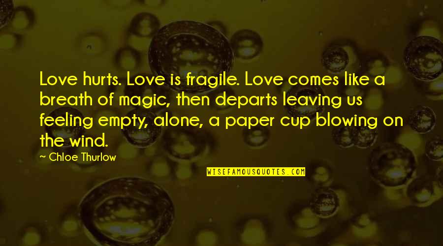 Not Feeling Alone Quotes By Chloe Thurlow: Love hurts. Love is fragile. Love comes like