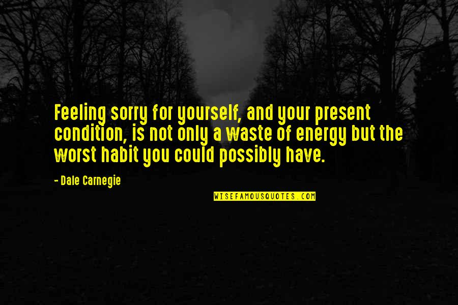 Not Feeling Quotes By Dale Carnegie: Feeling sorry for yourself, and your present condition,