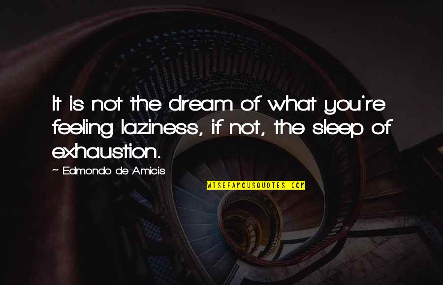 Not Feeling Quotes By Edmondo De Amicis: It is not the dream of what you're