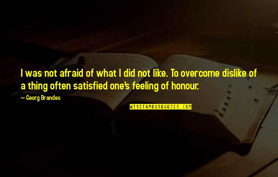 Not Feeling Satisfied Quotes By Georg Brandes: I was not afraid of what I did