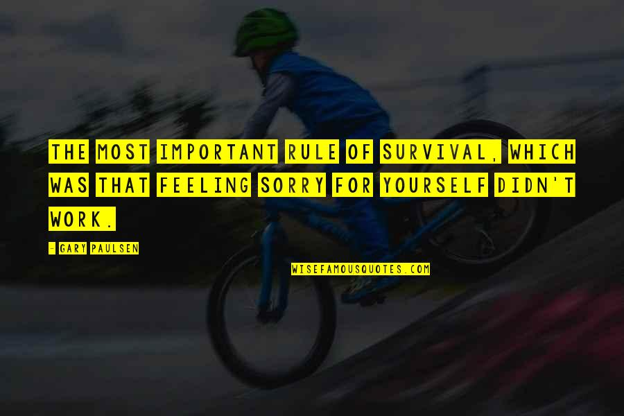 Not Feeling Sorry For Yourself Quotes By Gary Paulsen: The most important rule of survival, which was