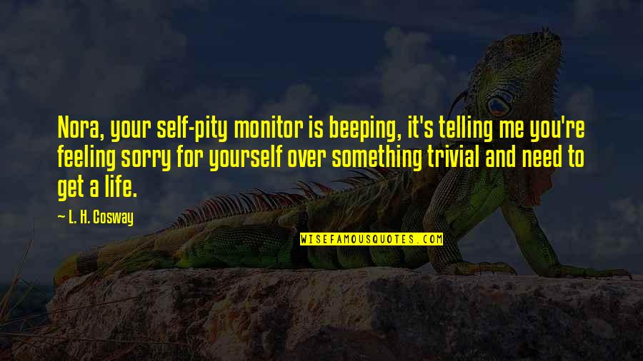Not Feeling Sorry For Yourself Quotes By L. H. Cosway: Nora, your self-pity monitor is beeping, it's telling