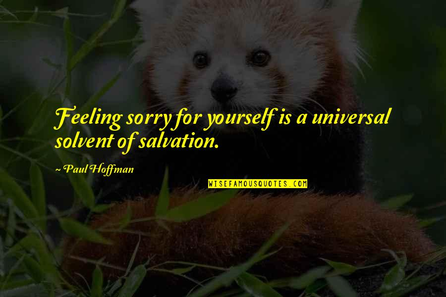 Not Feeling Sorry For Yourself Quotes By Paul Hoffman: Feeling sorry for yourself is a universal solvent