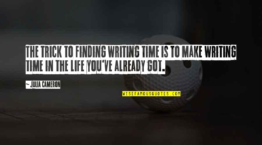 Not Finding Time Quotes By Julia Cameron: The trick to finding writing time is to