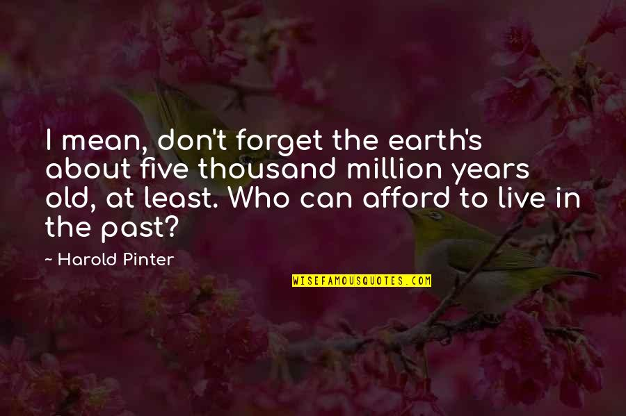 Not Fitting In With Your Family Quotes By Harold Pinter: I mean, don't forget the earth's about five