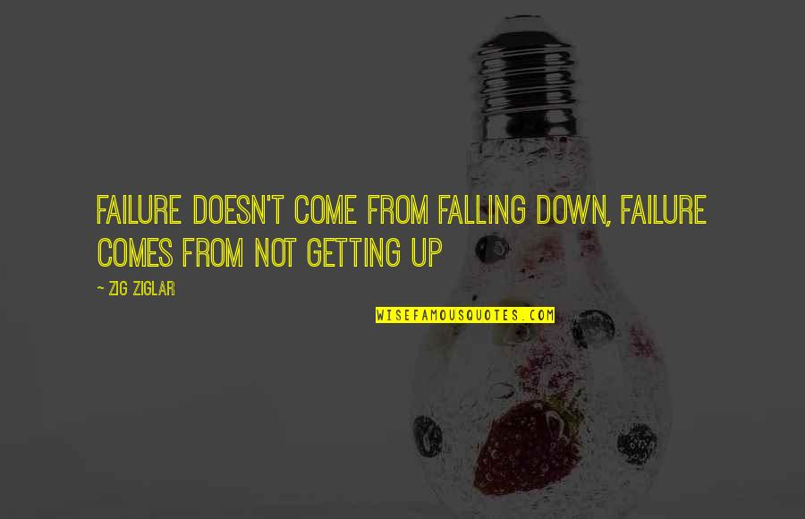 Not Getting Up Quotes By Zig Ziglar: Failure doesn't come from falling down, failure comes