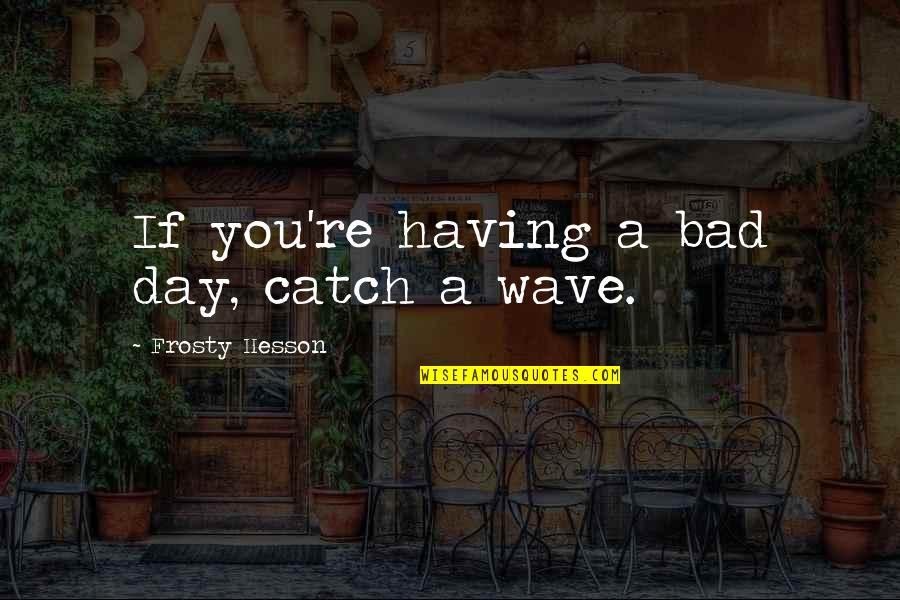 Not Having A Bad Attitude Quotes By Frosty Hesson: If you're having a bad day, catch a