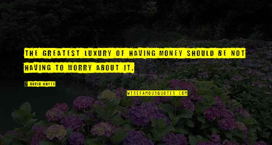 Not Having Money Quotes By David Whyte: The greatest luxury of having money should be