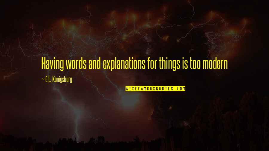 Not Having The Words Quotes By E.L. Konigsburg: Having words and explanations for things is too