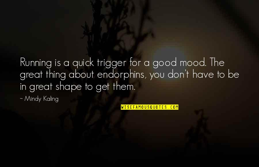 Not In The Good Mood Quotes By Mindy Kaling: Running is a quick trigger for a good