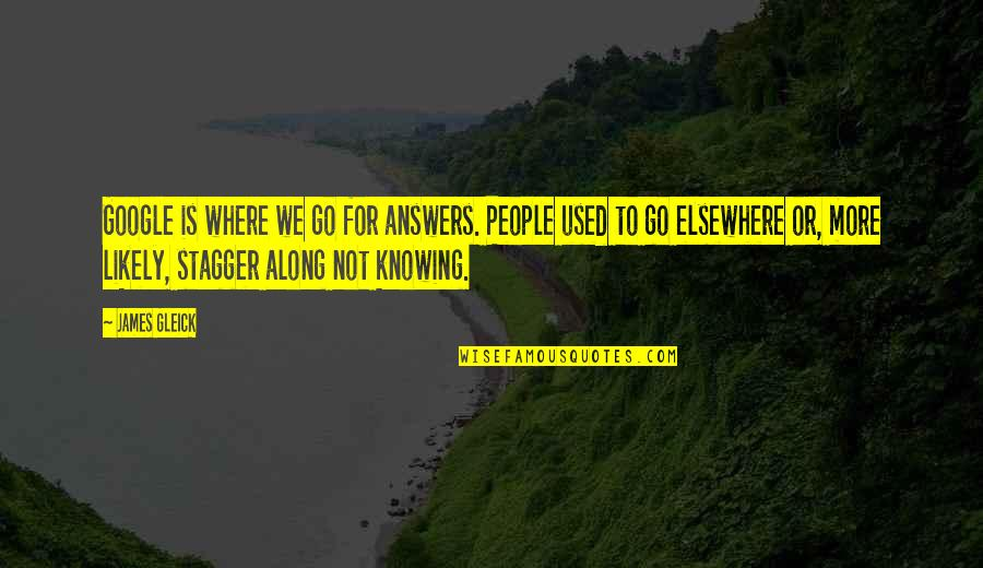 Not Knowing Answers Quotes By James Gleick: Google is where we go for answers. People
