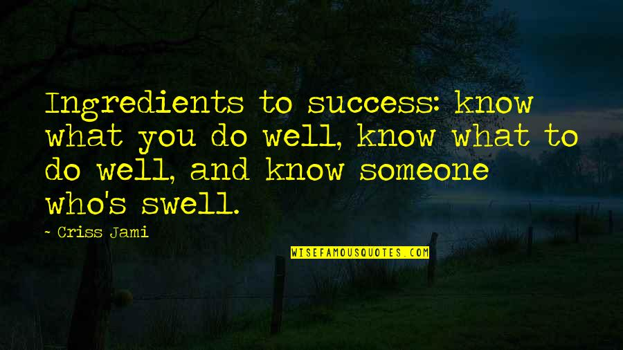 Not Knowing Someone Quotes By Criss Jami: Ingredients to success: know what you do well,