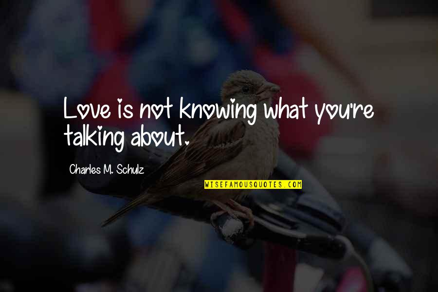 Not Knowing What Love Is Quotes By Charles M. Schulz: Love is not knowing what you're talking about.
