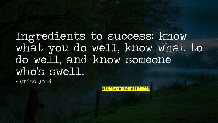 Not Knowing Who Someone Really Is Quotes By Criss Jami: Ingredients to success: know what you do well,