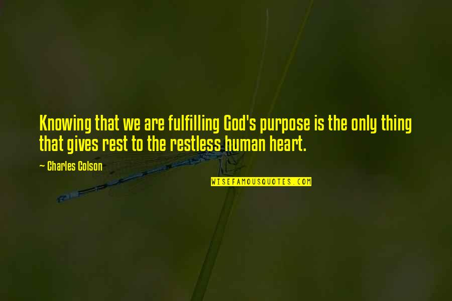 Not Knowing Your Purpose Quotes By Charles Colson: Knowing that we are fulfilling God's purpose is