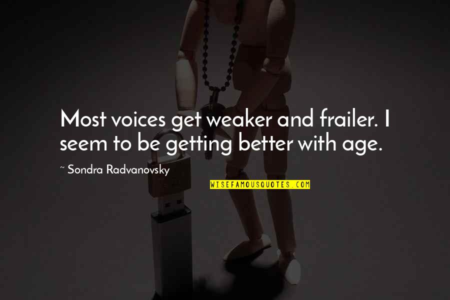 Not Living In The Past Anymore Quotes By Sondra Radvanovsky: Most voices get weaker and frailer. I seem