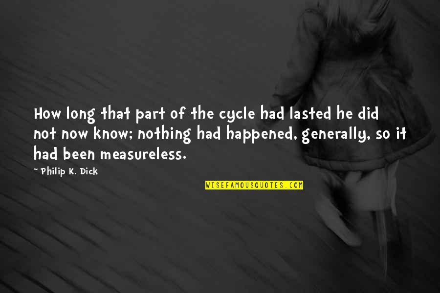 Not Long Now Quotes By Philip K. Dick: How long that part of the cycle had