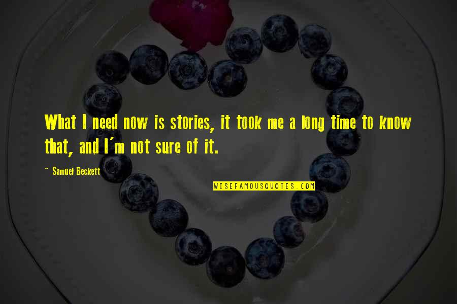Not Long Now Quotes By Samuel Beckett: What I need now is stories, it took