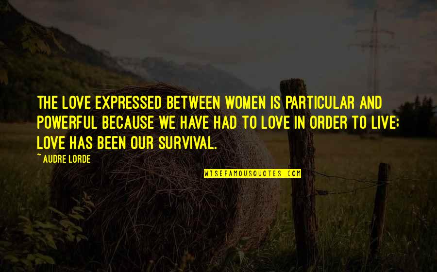 Not Looking For Love But Finding It Quotes By Audre Lorde: The love expressed between women is particular and
