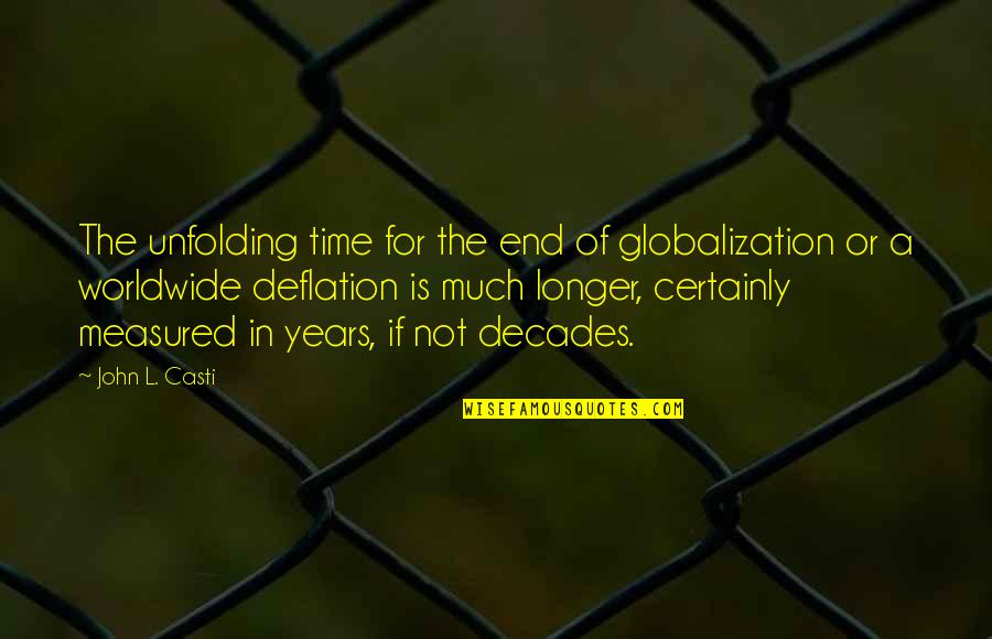 Not Much Longer Quotes By John L. Casti: The unfolding time for the end of globalization