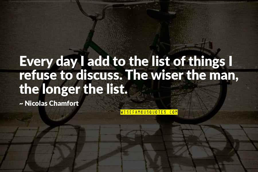 Not Much Longer Quotes By Nicolas Chamfort: Every day I add to the list of
