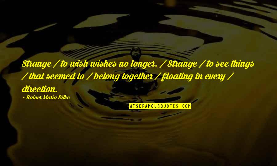 Not Much Longer Quotes By Rainer Maria Rilke: Strange / to wish wishes no longer. /