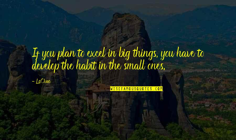 Not Overworking Quotes By LeCrae: If you plan to excel in big things,