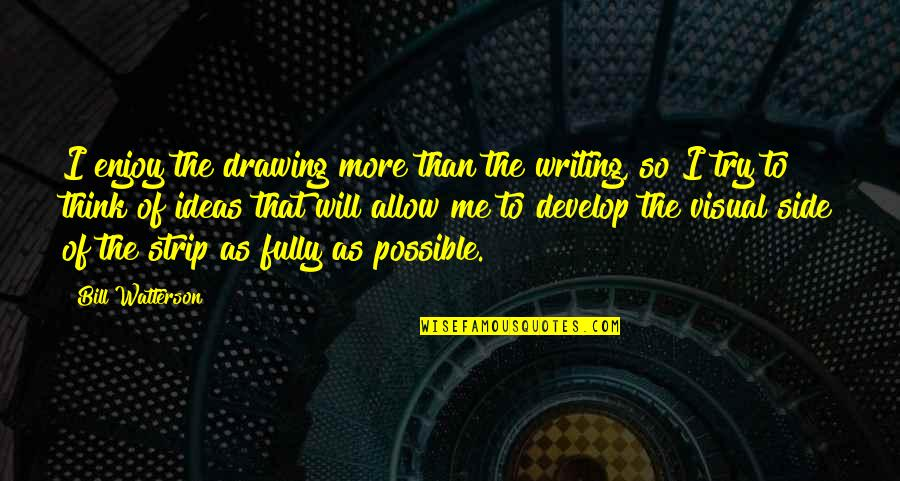 Not Possible For Me Quotes By Bill Watterson: I enjoy the drawing more than the writing,