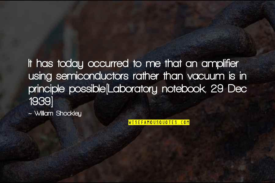 Not Possible For Me Quotes By William Shockley: It has today occurred to me that an