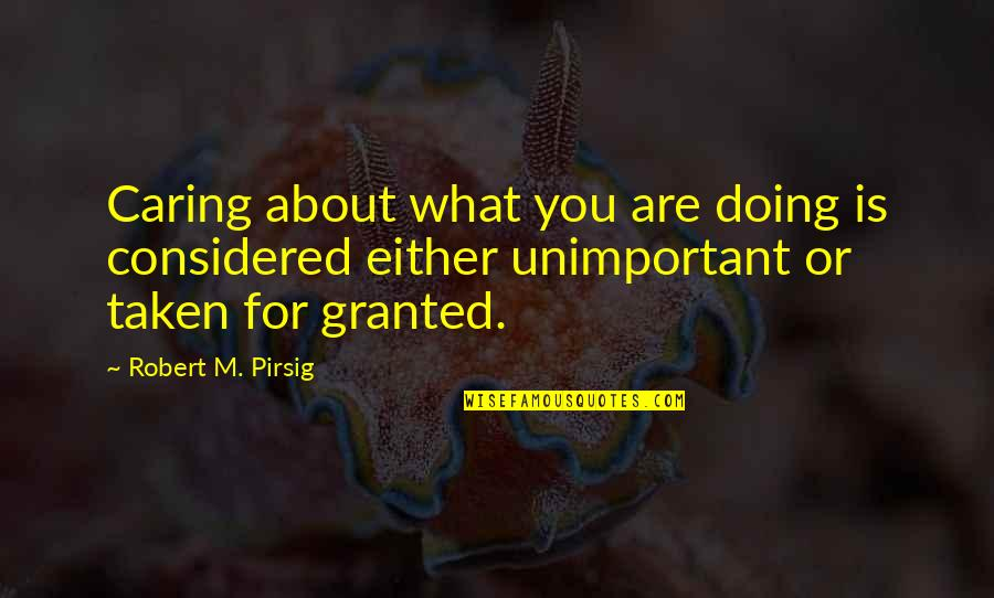 Not Really Caring Quotes By Robert M. Pirsig: Caring about what you are doing is considered