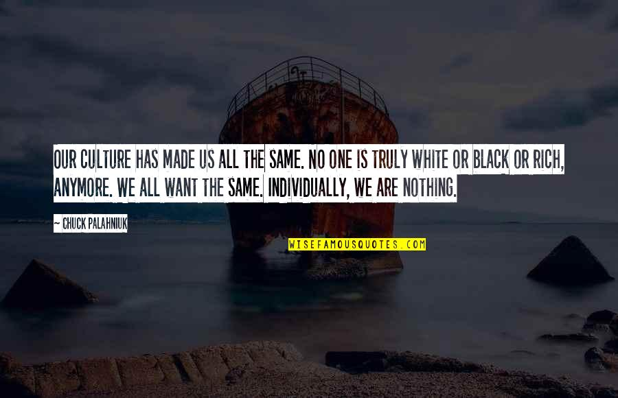 Not Same Anymore Quotes By Chuck Palahniuk: Our culture has made us all the same.