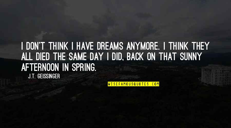 Not Same Anymore Quotes By J.T. Geissinger: I don't think I have dreams anymore. I
