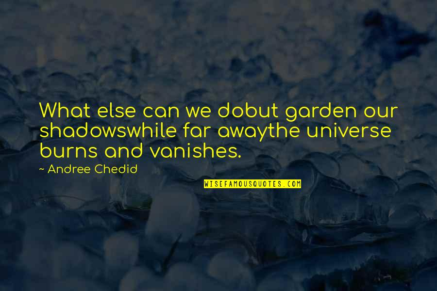 Not So Far Away Quotes By Andree Chedid: What else can we dobut garden our shadowswhile