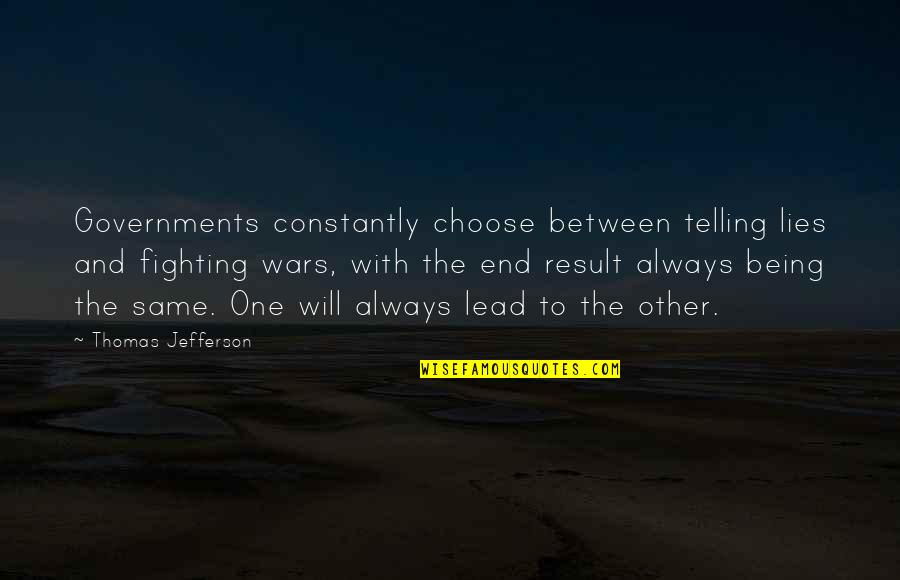 Not Telling Lies Quotes By Thomas Jefferson: Governments constantly choose between telling lies and fighting