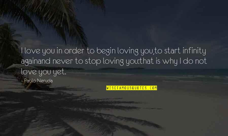 Not To Love Again Quotes By Pablo Neruda: I love you in order to begin loving
