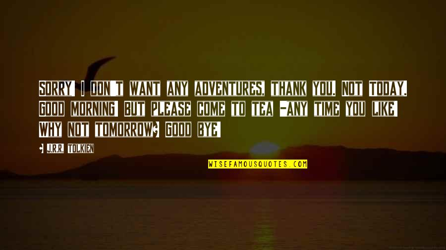 Not To Please You Quotes By J.R.R. Tolkien: Sorry! I don't want any adventures, thank you.
