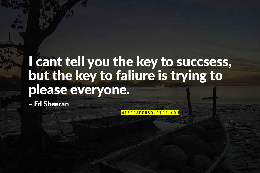 Not Trying To Please Everyone Quotes By Ed Sheeran: I cant tell you the key to succsess,