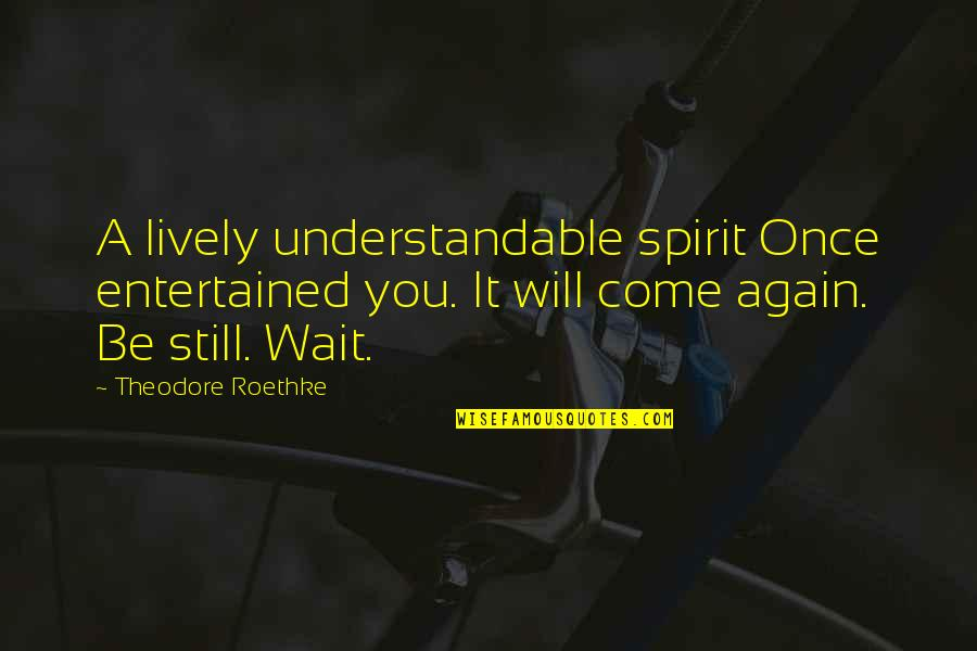 Not Understandable Quotes By Theodore Roethke: A lively understandable spirit Once entertained you. It