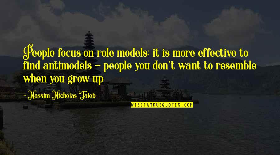 Not Want To Grow Up Quotes By Nassim Nicholas Taleb: People focus on role models; it is more