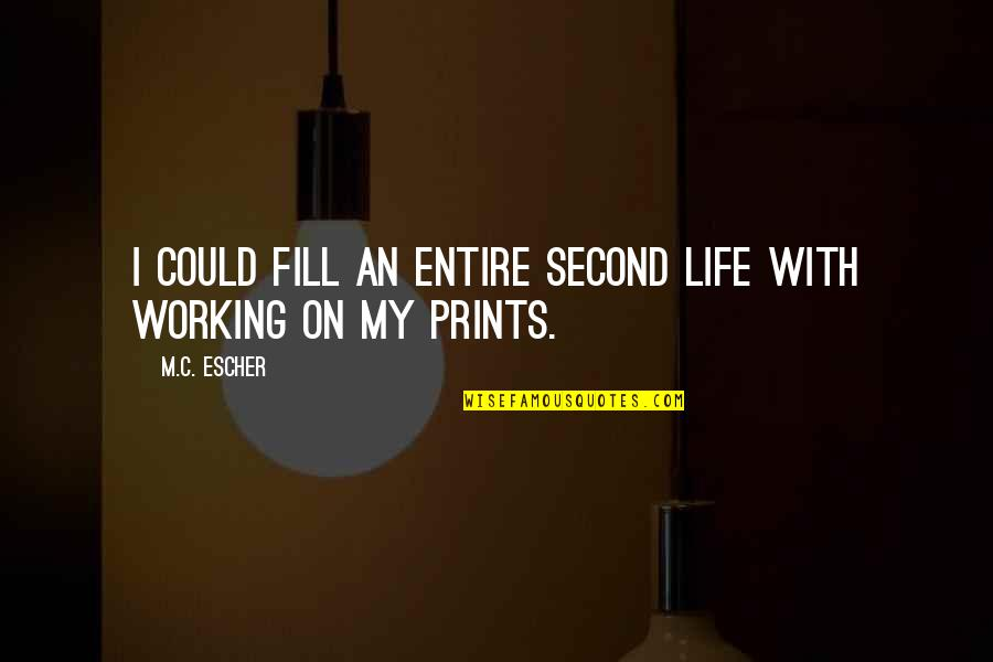 Not Working Too Much Quotes By M.C. Escher: I could fill an entire second life with