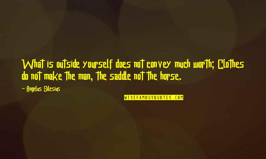 Not Worth Quotes By Angelus Silesius: What is outside yourself does not convey much
